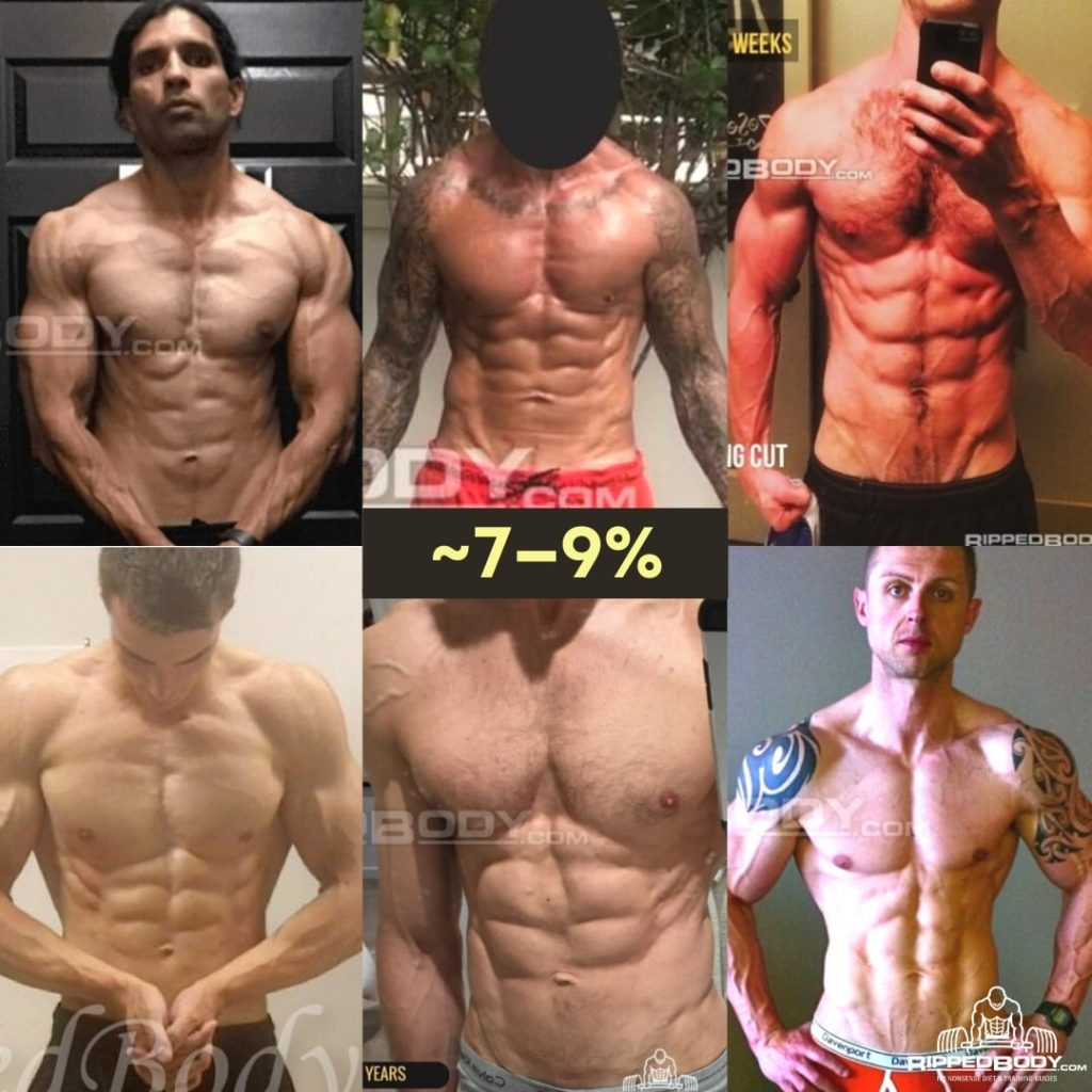What 7-9% body fat looks like
